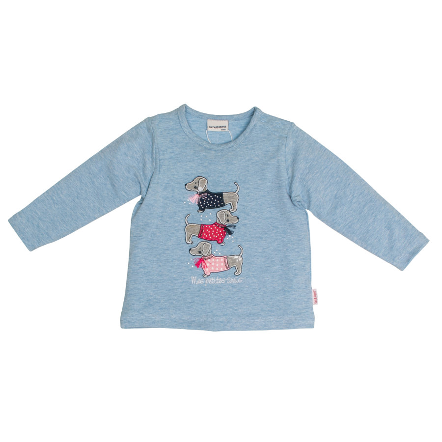 SALT AND PEPPER Girl s Shirt met lange mouwen Mon Amie Dogs Sky melange