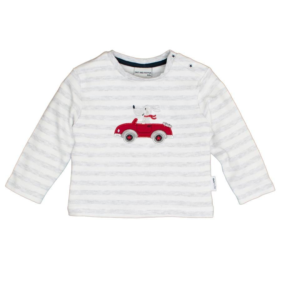 SALT AND PEPPER Camicia manica lunga Bear stripe striscia grigio chiaro melange