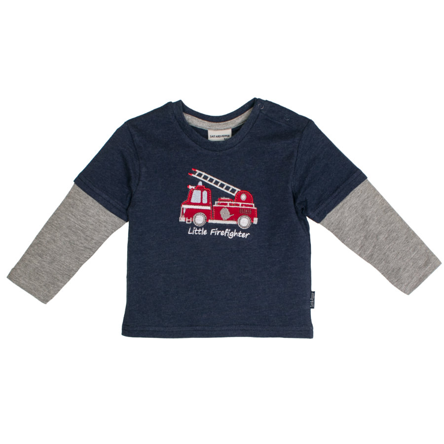 SALT AND PEPPER Boys Shirt met lange mouwen Little Man 2in1 sterk blauw