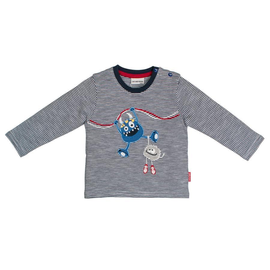 SALT AND PEPPER Boys Camicia manica lunga a righe Monster stripe navy