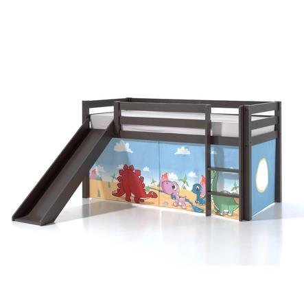 VIPACK Spielbett mit Rutsche Pino taupe Vorhang Dinos