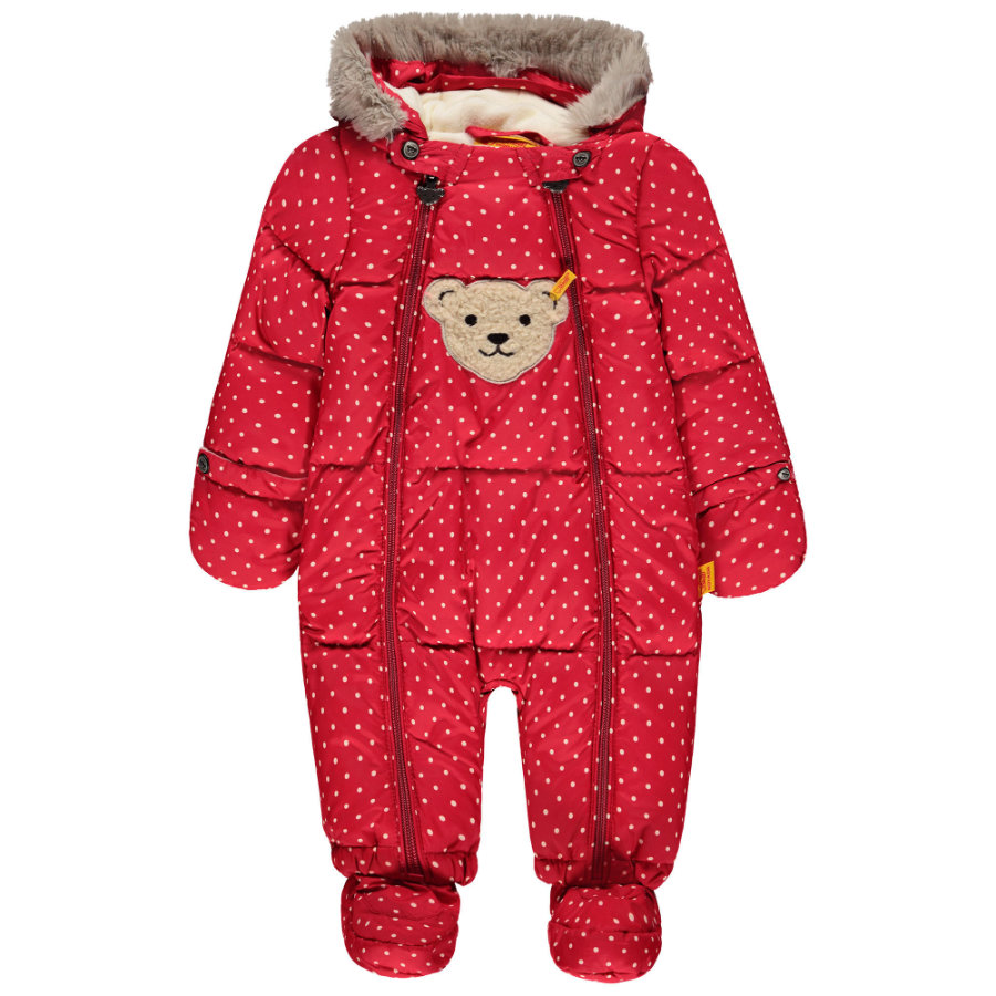 Steiff Girls Buzo para nieve, rojo con puntitos