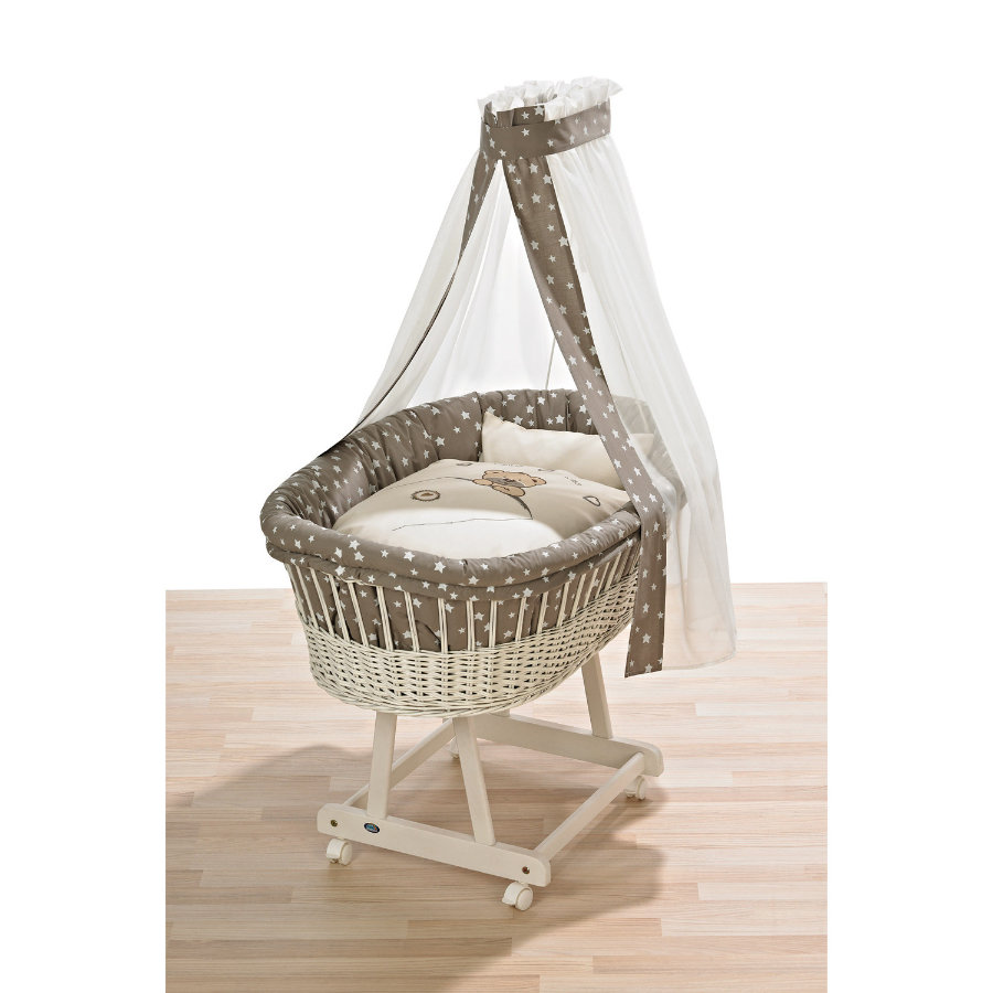 ALVI Bassinet Birthe white -  Little bear beige