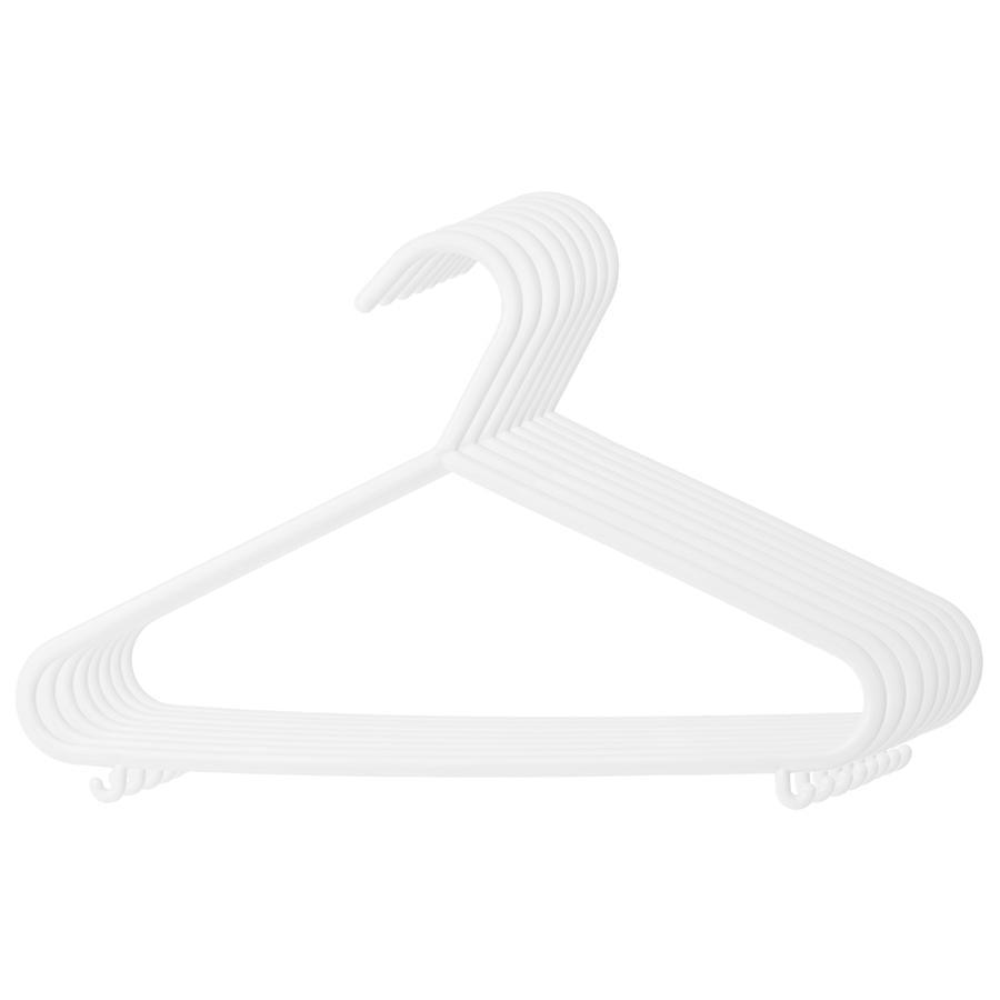 BIECO tøjbøjle i kunststof, 8 stk. perlemor/ hvid