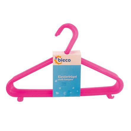 bieco Cintres enfant plastique 8 pièces rose