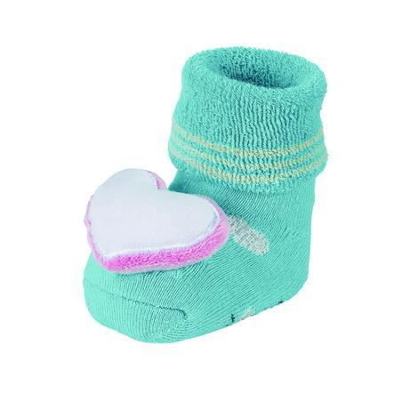 Sterntaler Girls Baby-Rasselsöckchen Herz eisblau