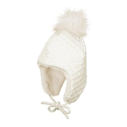Sterntaler Inka-Mütze Fell-Pompon ecru
