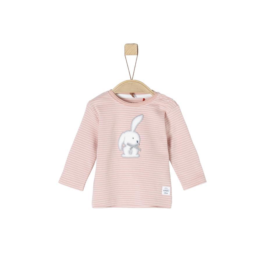 s.Oliver Girl koszula z długim rękawem, zakurzone różowe paski.