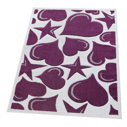Relita Kinderteppich lila/weiß mit Herzen/Sternen 170 x 120 cm