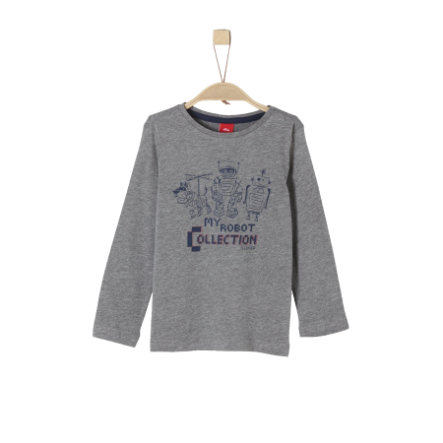 s.Oliver Boys Camisa manga larga gris oscuro mélange