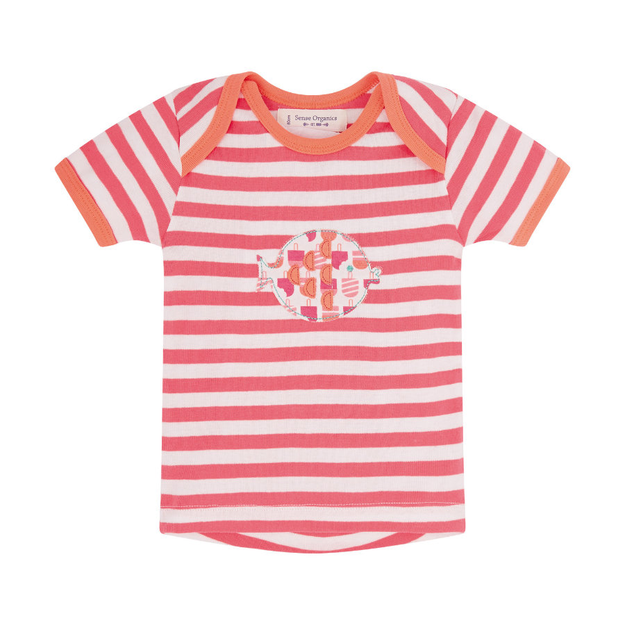 SENSE ORGANICS Girls Baby T-Shirt TIMBER coral stripes