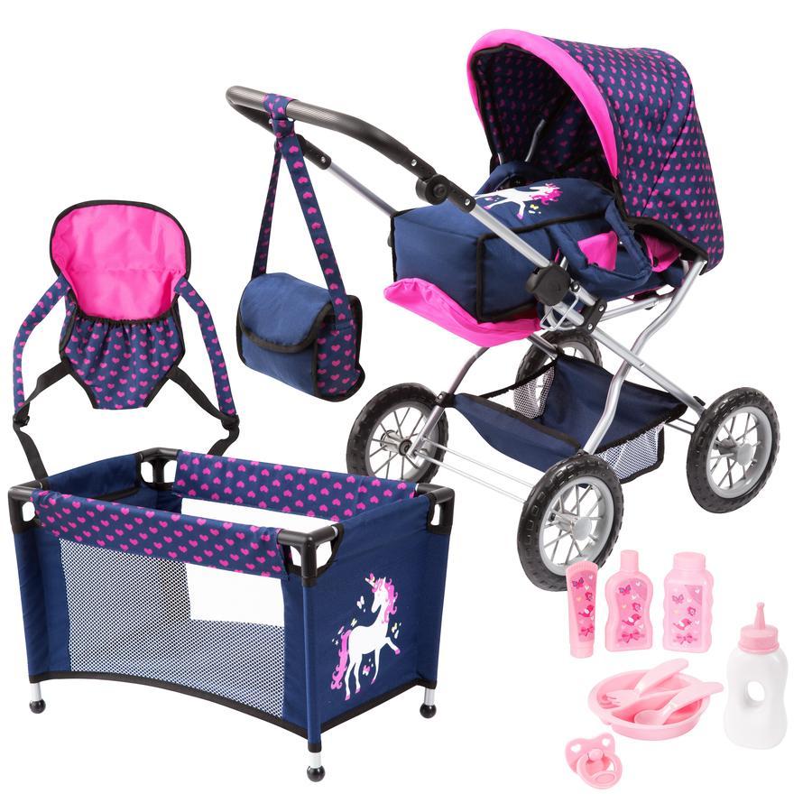 bayer Design Kombi-Puppenwagen Grande Set, blau mit Herzen und Einhorn