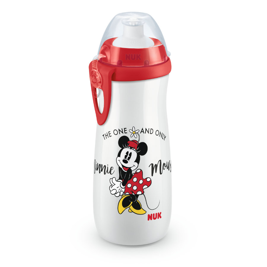 NUK Sports Cup 450ml Minnie Maus mit Push-Pull-Tülle Silikon  und Clip 450 ml rot