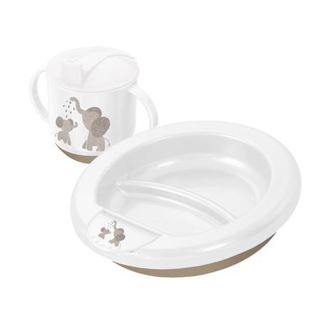 Rotho Kit repas bébé modern feeding modern elephants blanc 2 pièces