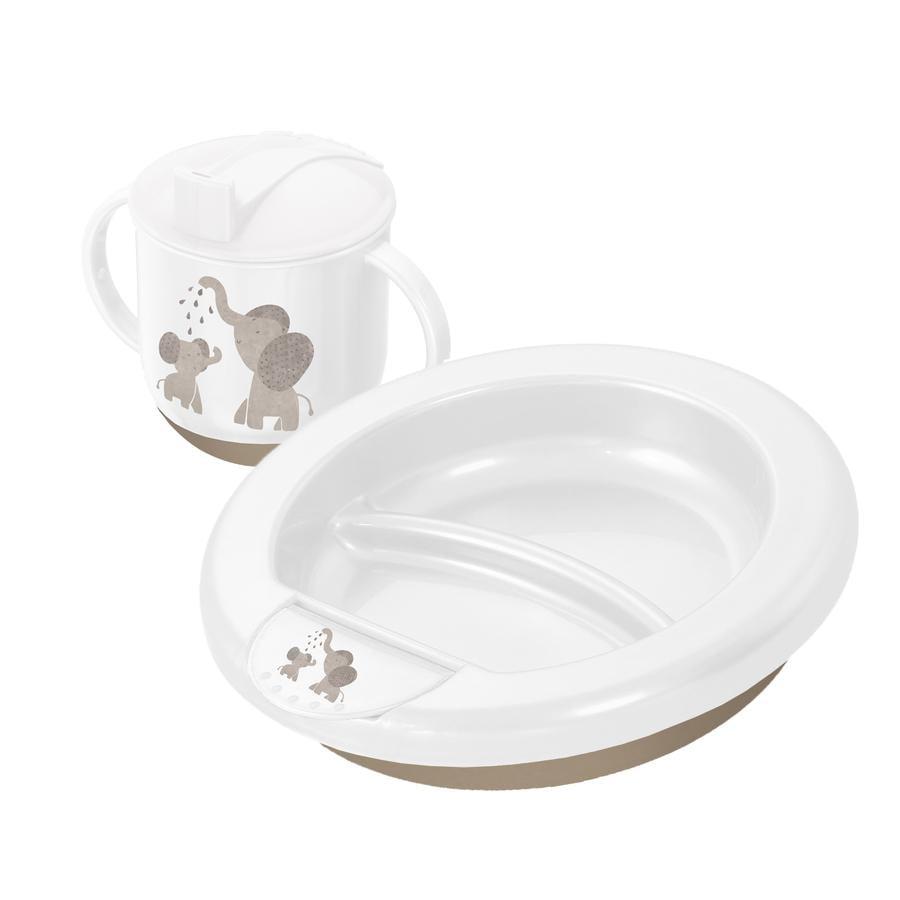 Rotho Babydesign Modern Feeding Lära-äta-set Modern Elefanter 2 delar vit
