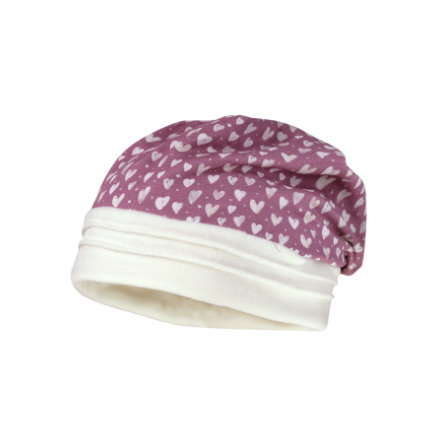 maximo Girls Beanie Herzen elderberry-wollweiss