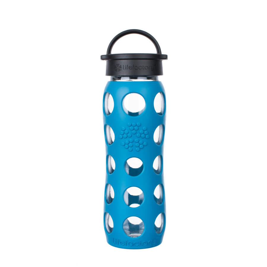 LIFEFACTORY Borraccia in vetro Classic Cap teal take 650 ml