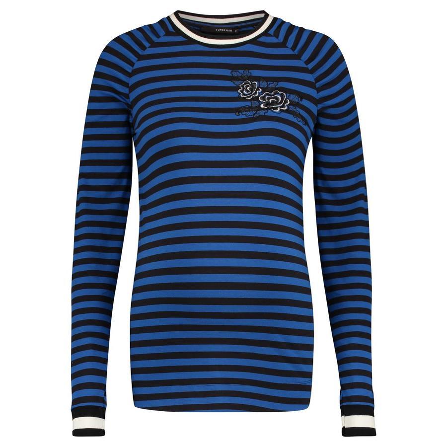 SUPERMOM Koszulka z długim rękawem w paski Niebieski