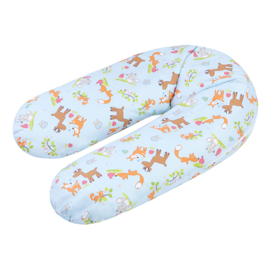 ZÖLLNER Nursing Pillow with Bead Filling - Forest Animals blue