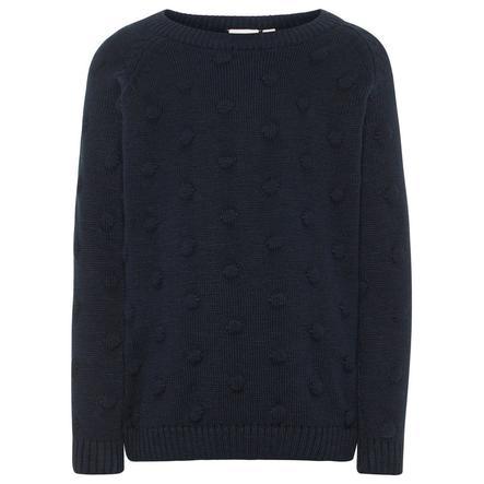 name it Girl sweter z dzianiny Nmfnaplet ciemny szafir