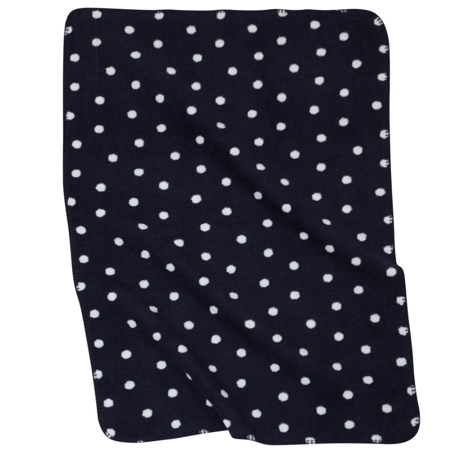 ALVI Baby Blanket with linking border Dots navy