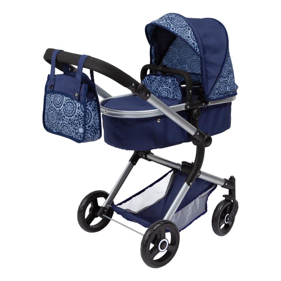 bayer Design Kombi-Puppenwagen Neo Vario blau, mit Muster