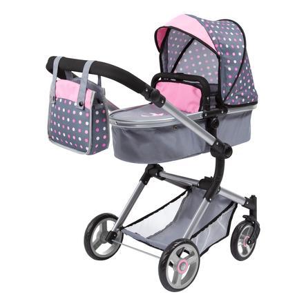bayer Design Kombi-Puppenwagen Vario grau/rosa mit Punkten und Fee