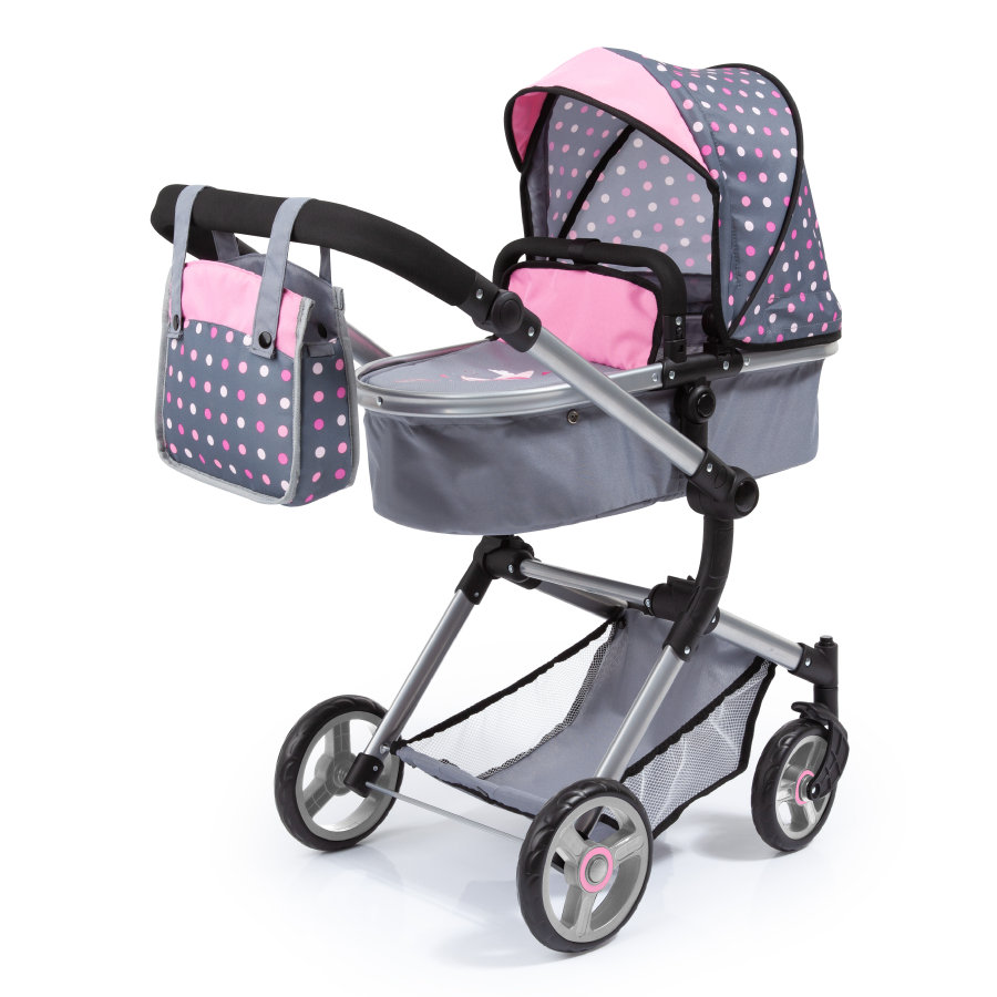 bayer Design Cochecito de muñecas combinable Finn, gris-rosa
