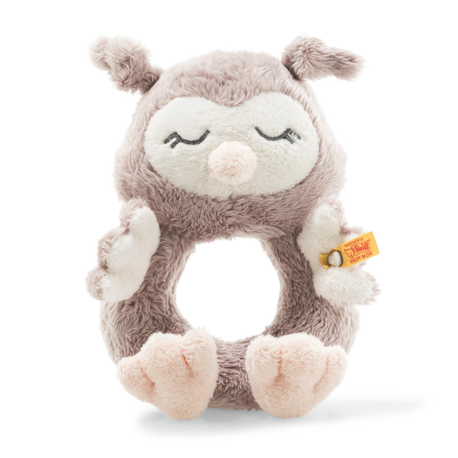 Steiff Soft Cuddly Friends Greifring mit Rassel Eule Ollie 14 cm