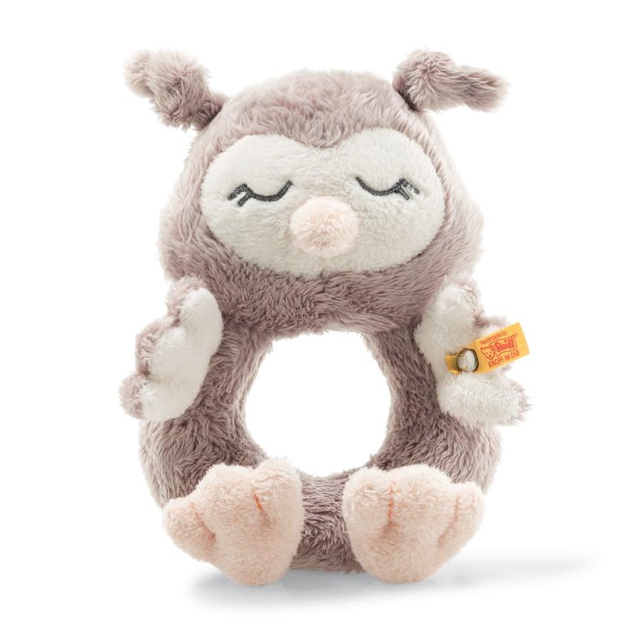 Steiff Soft Cuddly Friends grijpring met rammelaar uil Ollie 14 cm