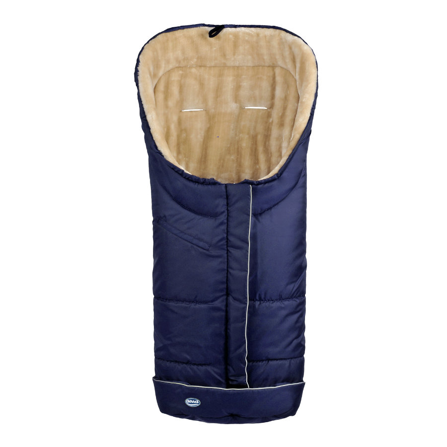 URRA Footmuff Deluxe with Fur large navy/beige