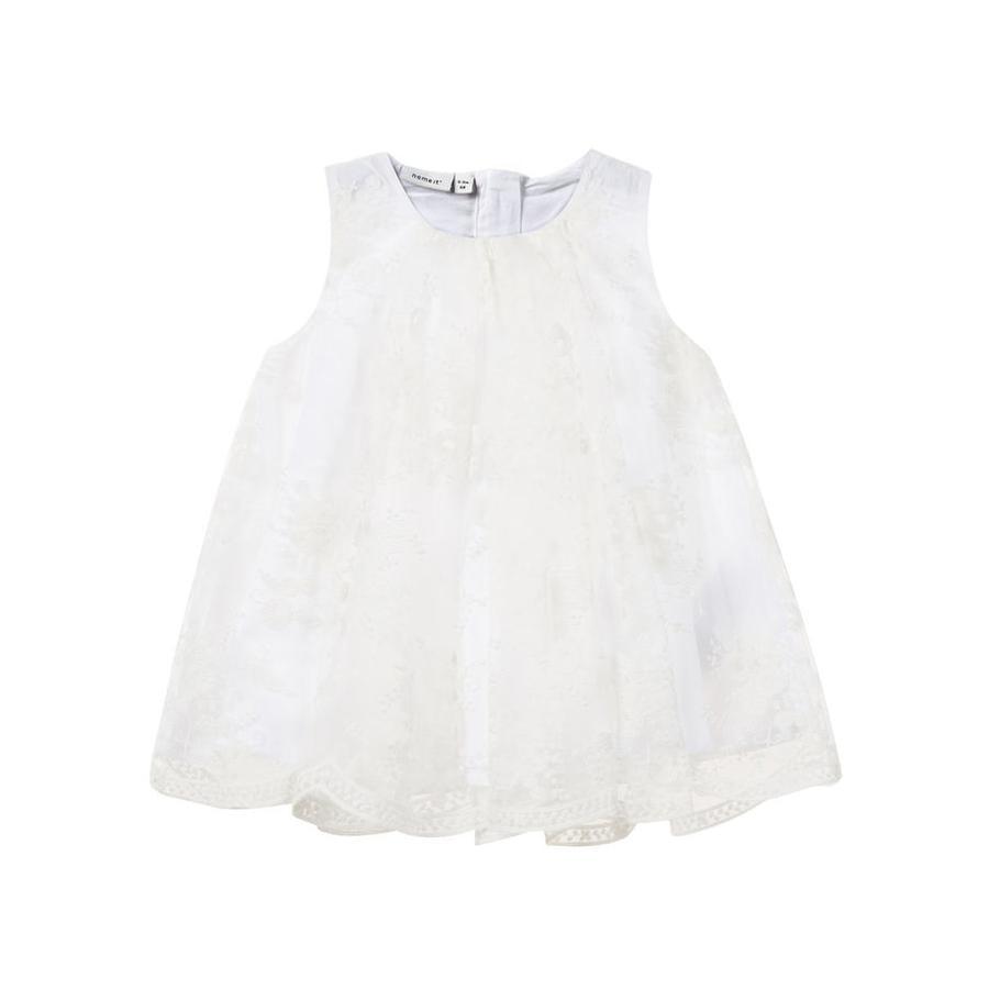 NAME IT Girls Mini Vestido Sille, blanco brillante