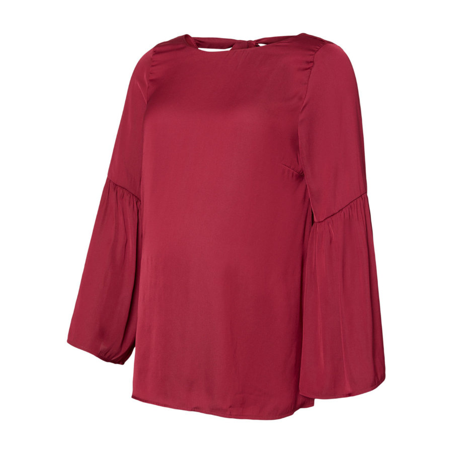 mama licious Lange mouwen shirt MLROSALIE Rood Pruim rood