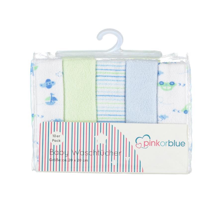HÜTTE & CO Waschtücher 10er Pack blau