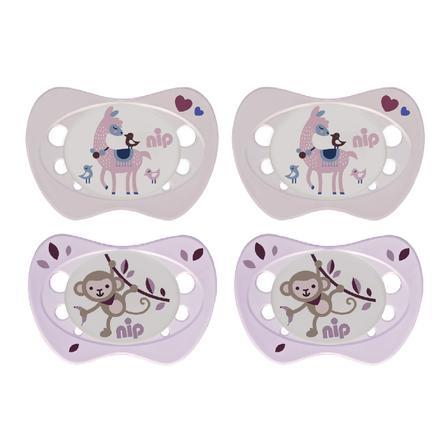 nip Schnuller Newborn rosa Gr. 0 (0 - 2 Monate) Silikon Lama und Affe 4 Stück