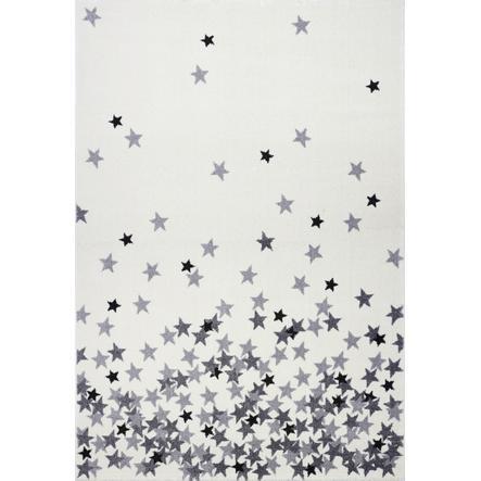 LIVONE Barnmatta Kids Love Rugs - Stjärnregn creme/silvergrå, 160 x 220 cm