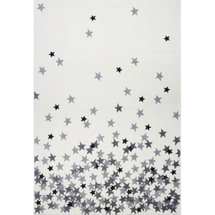 LIVONE Gulvtæppe Kids Love Rugs - Stjerneregn Creme / Lysegrå 160 x 220 cm