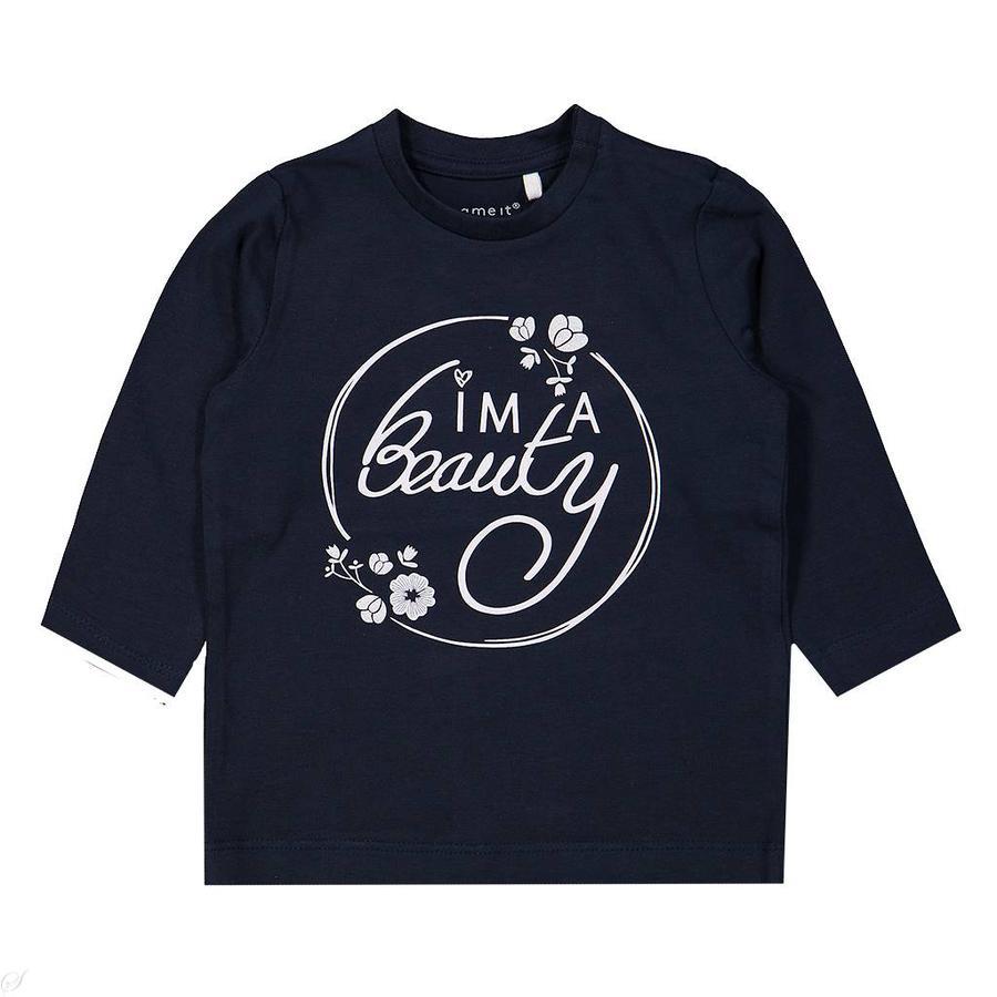 name it Girl s camisa de manga larga Luna zafiro oscuro