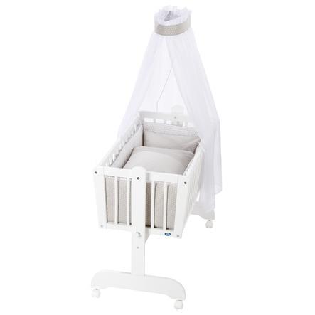Alvi® Culla basculante Sina bianco + Set biancheria 944-8 Diamante talpa