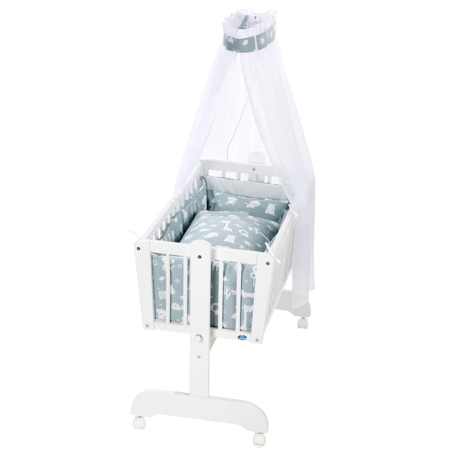 Alvi® Komplettvugge Sina Hvit, 911-1 Dyrehage Pudderblå