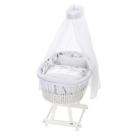 Alvi® Culla Birthe bianco + Set biancheria 972-9 Stelle grigio argento