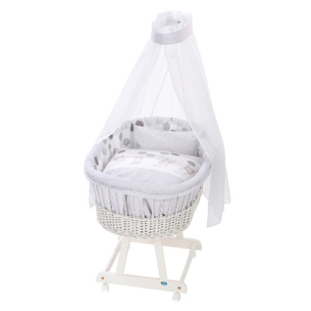 ALVI Vauvan Korisänky Birthe sänkysetillä, valkoinen 972-9 virtahepo hopeanharmaa