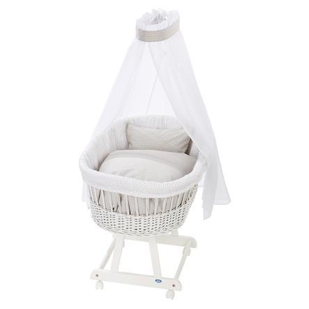 Alvi® Berceau à roulettes complet Birthe blanc losanges taupe 944-8