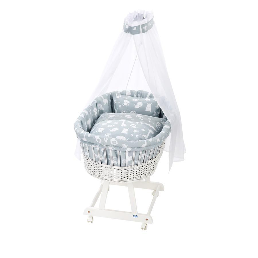 Alvi® Culla Birthe bianco + Set biancheria 911-1 Animali dello zoo blu polvere