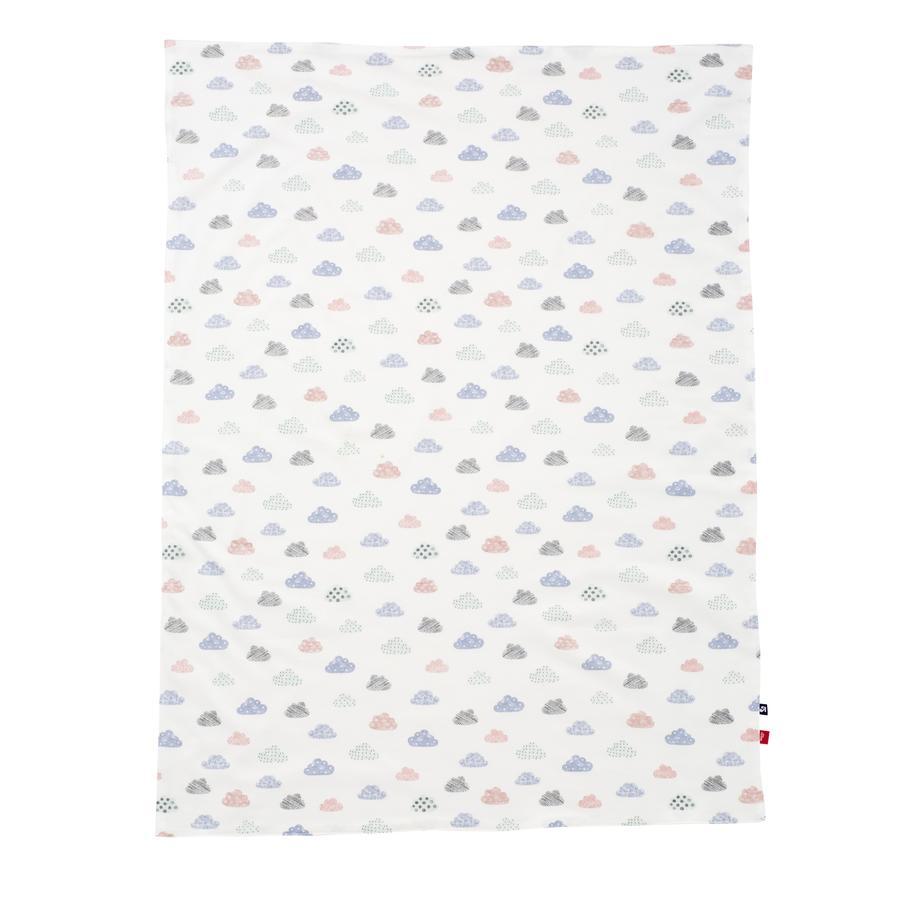 Alvi® Couverture bébé Jersey happy cloud blanche 75 x 100 cm