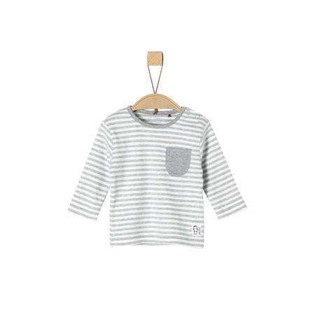 s.Oliver Koszula z długim rękawem jasnoszara koszula melanżowa Paski