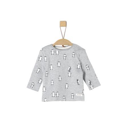 s.Oliver Shirt met lange mouwen lichtgrijs gemêleerd melange AOP