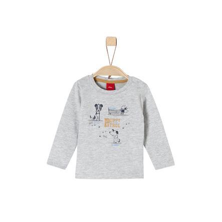 s.Oliver Boys Shirt met lange mouwen lichtgrijs gemêleerde honden