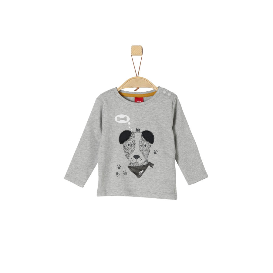 s.Oliver Boys Shirt met lange mouwen lichtgrijs gemêleerd, gemêleerd hondje