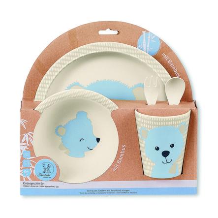 Sterntaler Ensemble vaisselle et couverts enfant en bambou Baylee bleu